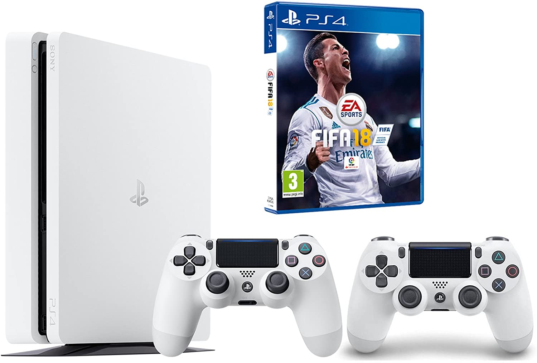 PS4 Slim 500Gb Blanca Playstation 4 Consola - FIFA 18 + 2 Mandos ...