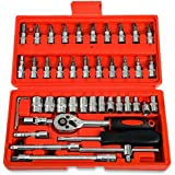 Replaitz 46pcs 1/4-Inch Socket Set Ratchet Wrench Combination Tools Kit for Auto Repairing