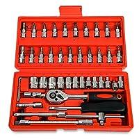 Replaitz 46pcs 1/4-Inch Socket Set Ratchet Wrench Combination Tools Kit for Auto Repairing