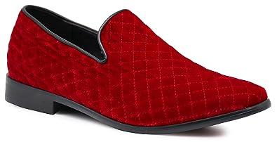 810daa02438c9a SPK02 Men s Vintage Plain Velvet Quilted Dress Loafers Slip On Shoes  Classic Tuxedo Dress Shoes (