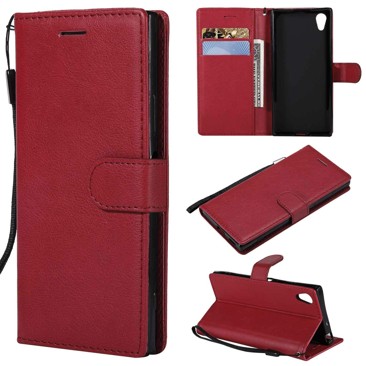 Sony Xperia XA1 Wallet Case, CUSKING Premium Leather Cover with Silicone Inner Case for Sony Xperia XA1 [Card Holder] [Magnetic Closure] [Hand Strap] - Red