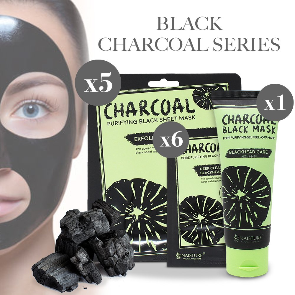 Activated Charcoal Blackhead Remover Pore Cleansing Set - Facial Peel Off Sheet Masks (5 Count) + Nose Strips (6 Count) + Exfoliating Gel Black Mask by Naisture  (100 mL)