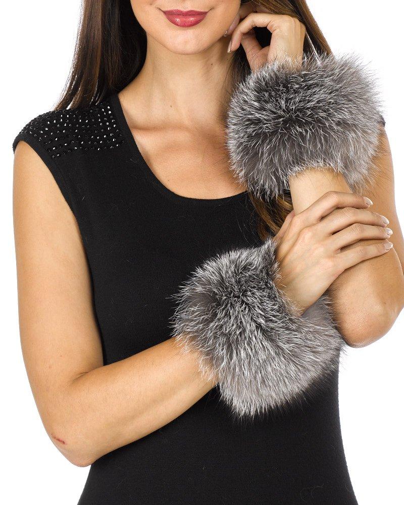Fur Slap on Cuffs - Silver Fox Fur