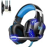 ゲーミング ヘッドセット ヘッドホン ヘッドフォン ゲームヘッドセット G2000高音質 サラウンドヘッドフォン マイク付き ゲーム用 騒音抑制 有線 3.5mm Nintendo Switch /プレスデーション4 PS4/スマホ/パソコンなど対応 (ブラックブルー)