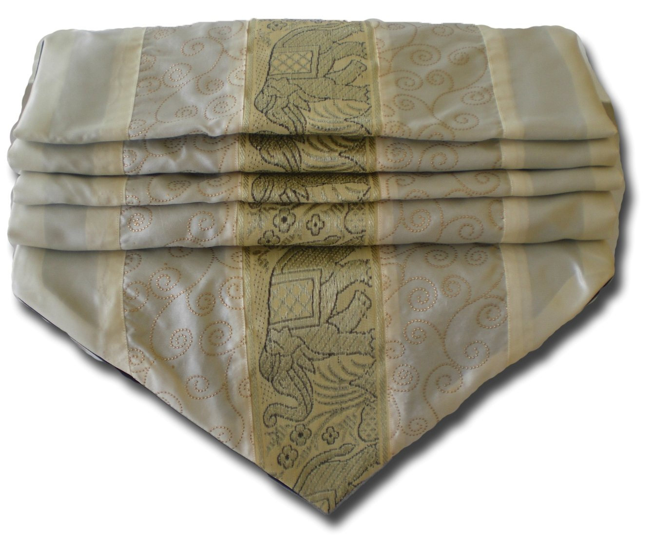soljo - tablecloth tablerunner table runner linen Thai Silk Elegant precious Elephant 150/200/250 cm x 30 cm many colors (creme, 200 cm x 30 cm) by by soljo