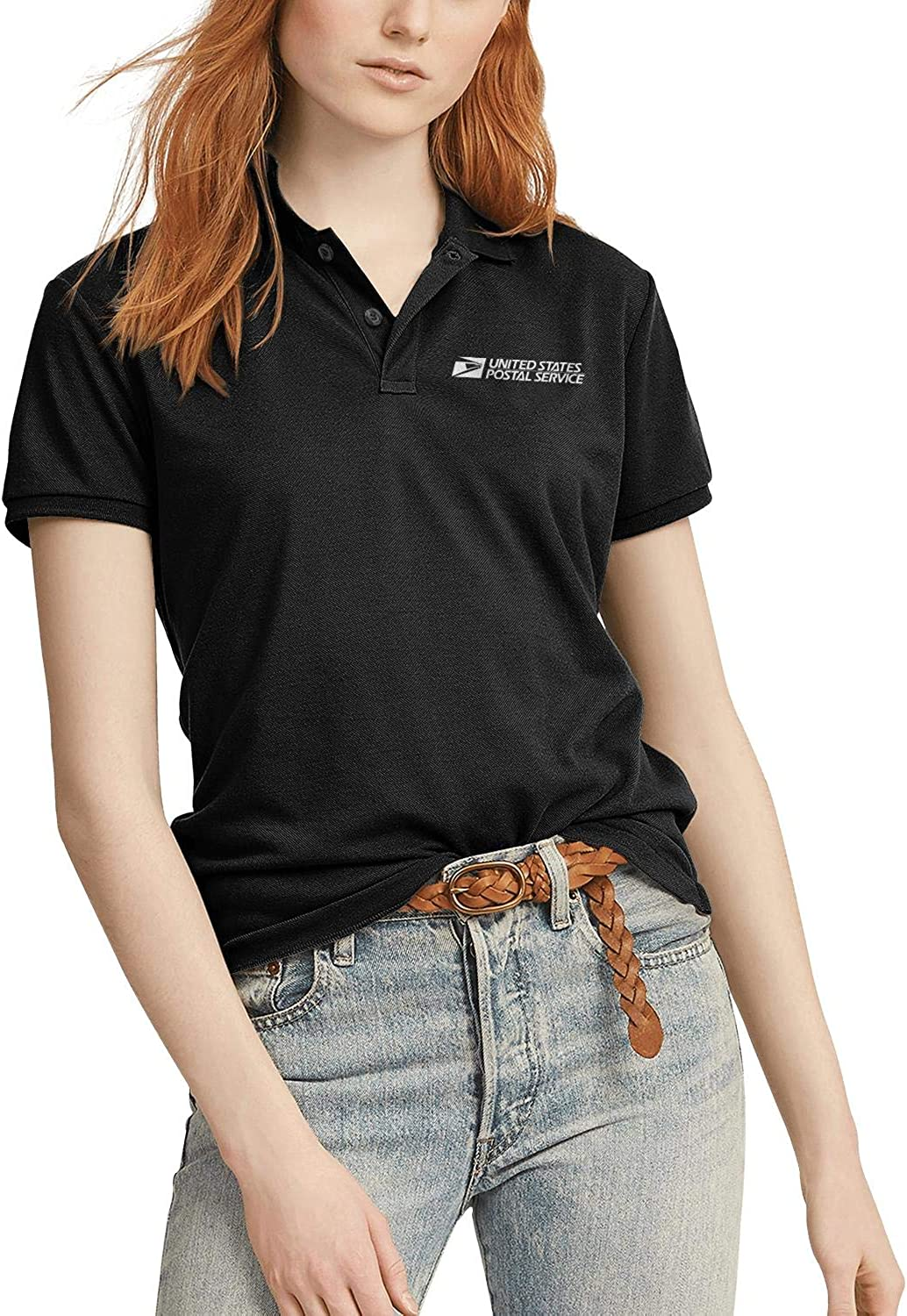 Womens White-United-States-Postal-Service-USPS-Logo- Original Black Polo T Shirt Tee Jersey