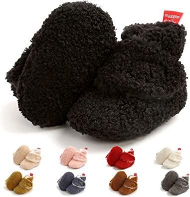 Newborn Baby Girl Winter Shoes Booties Slippers Fleece Toddler Non-Slip Soft Sole Shoes For 0-18 Months
