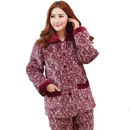 Las se?oras de franela de algod¨®n pijamas de invierno de espesor