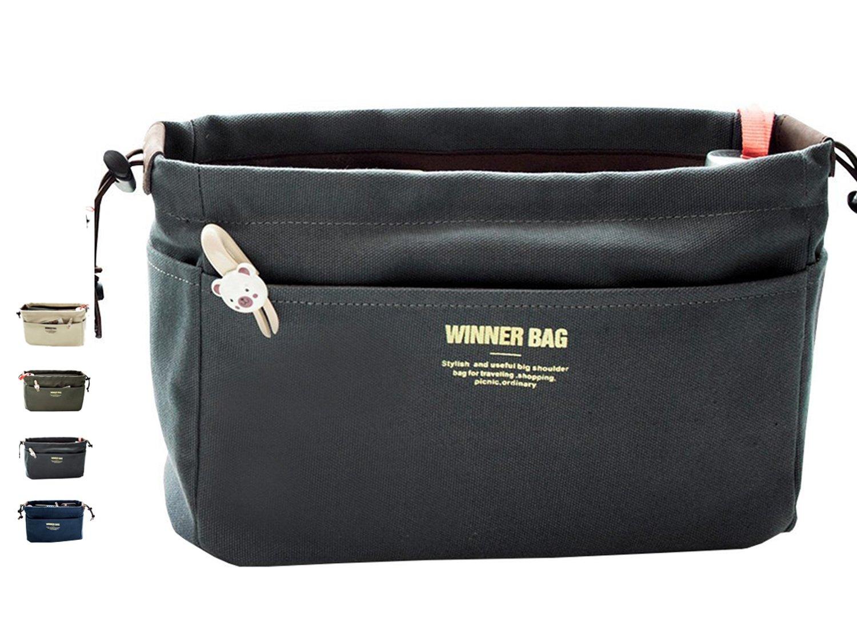 LIKU Canvas Handbag Organizers, Multi-Pocket Purse Insert Organizer Bag in Bag