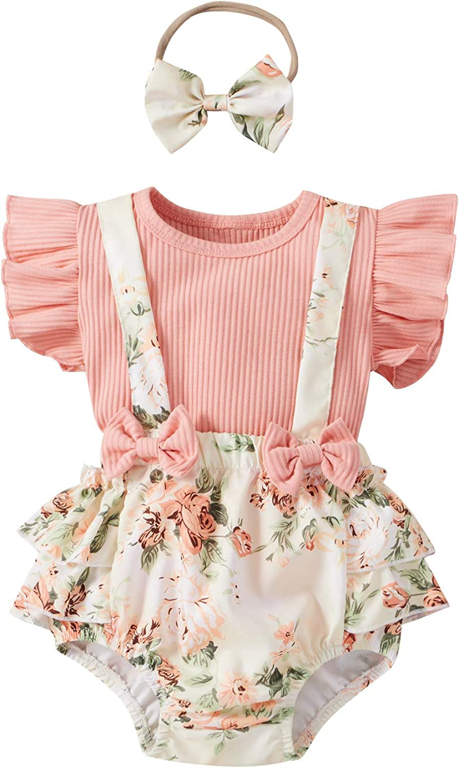 Infant Newborn Baby Girl Summer Floral Outfit Ruffle Shirt Suspender Shorts with Headband 3pcs Clothes Set