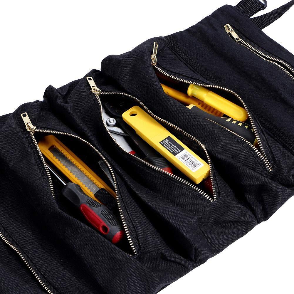 Bolsas para herramientas Bolsas Rollo Herramienta para colgar multiuso Estuche almacenamiento Bolsa enrollable Cremallera Portaherramienta Herramienta Organizador Cubo 5 bolsillos con cremallera