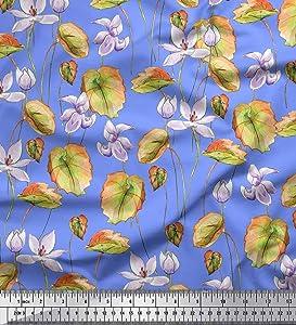 Soimoi Rayon Fabric Leaves & Magnolia Flower Print Sewing Fabric Yard 42 Inch Wide