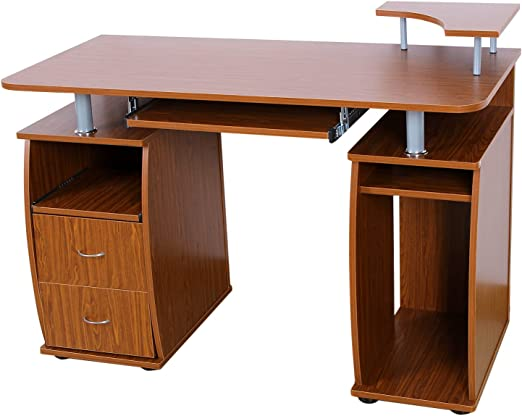 Songmics escritorio de la computadora con 2 cajones y estante de ...