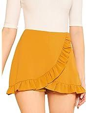 SheIn Women's Mid Waist Ruffle Wrap Skorts Asymmetrical Plain Skirt Shorts