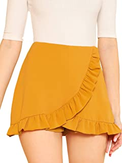 36fe657ee SheIn Women's Mid Waist Ruffle Wrap Skorts Asymmetrical Plain Skirt Shorts