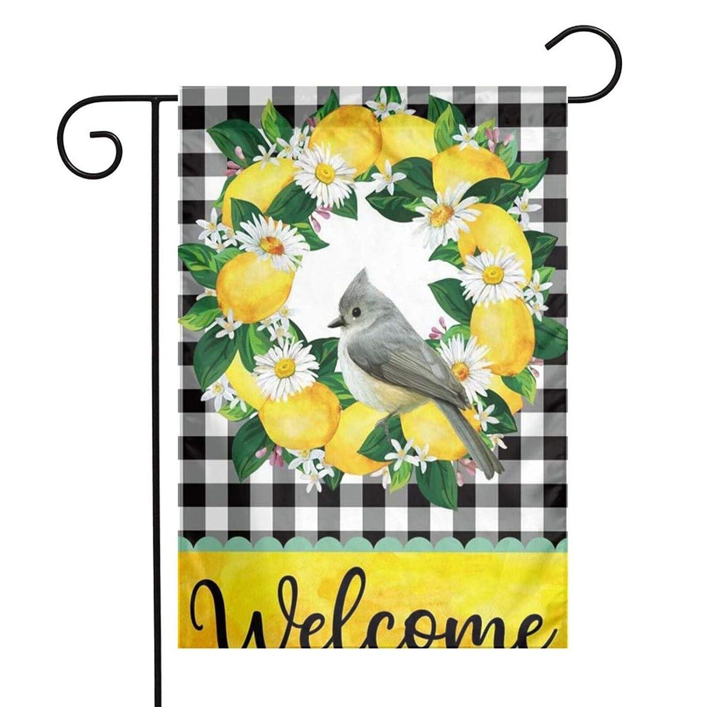 Lemon Wreath Spring Bird Garden Flag 12 X 18 Double Sided, Small Yard Flag Spring and Summer Burlap Buffalo Check Plaid Rustic Flower Decor, Seasonal Outdoor Flag Cute Farmhouse hello Spring Banner Floral Decor