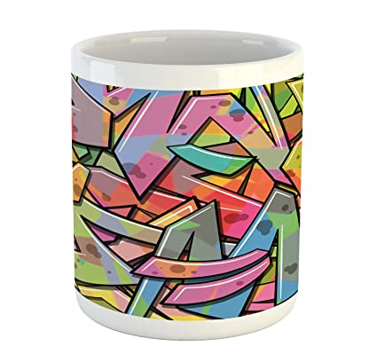 Amazon Com Ambesonne Colorful Mug Abstract Grunge Arrows Graffiti