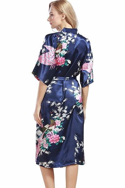 VERNASSA Ropa Pijama,Satén Kimono Pavo real Albornoces,3/4 Manga Estampado Camisón Bata, Multicolor: Amazon.es: Ropa y accesorios