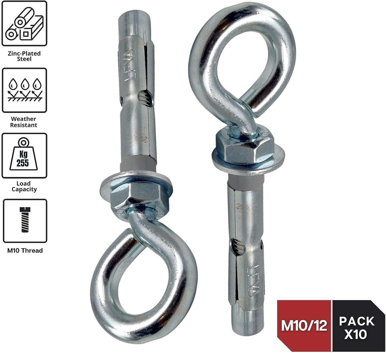 DOJA Industrial | Tacos Anclaje Metalico de Expansion con Cancamo | M10-12 | PACK 10 | Tacos hormigon, pared, chapas metalicas | Espiches de pared, ...