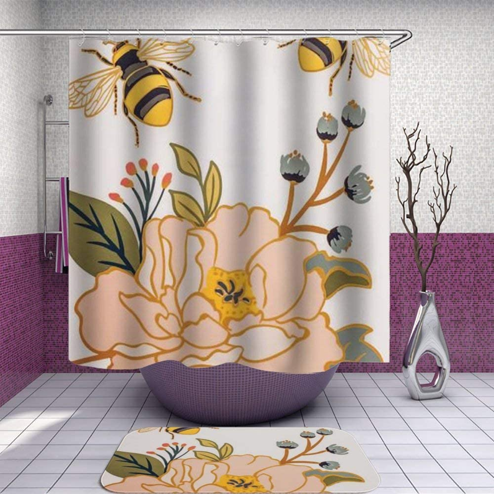 Amazon Com Sara Nell Shower Curtain And Rug Set For Bathroom Bees Flying Around The Red Lilies Shower Curtain Fabric Bathroom Curtain Set With 12 Hooks 72 X 72 Inch Home Kitchen