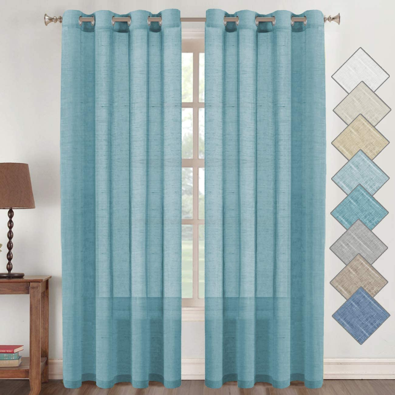 Flamingo P Elegant Linen Sheer Curtains, Natural Linen Home Fashion Privacy Protection, Open Weave Rich Linen Textured Nickel Grommet Curtains (Set of 2, 52 x 84 inch, Turquoise)