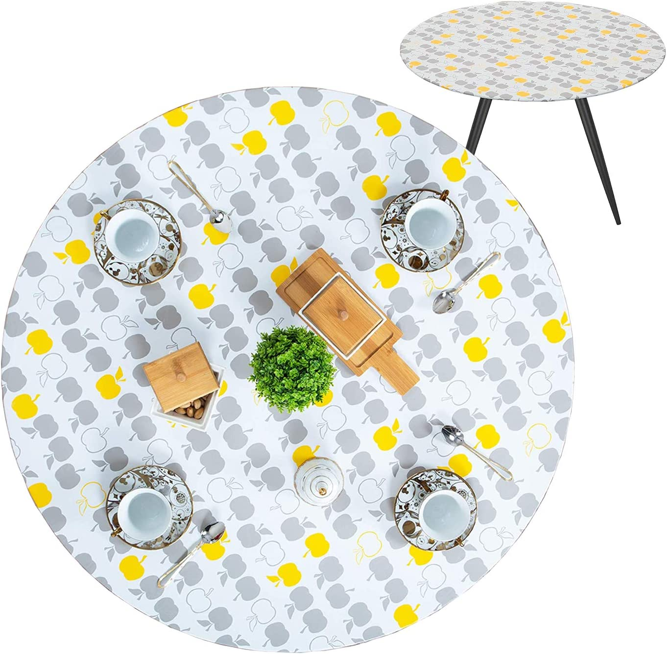 gisgfim Fitted Tablecloth Cover Outdoor/Indoor Vinyl Round Table Cover Waterproof Elastic Flannel Table Cloth Protector (Yellow Gray Apples, 40-44 Inch)