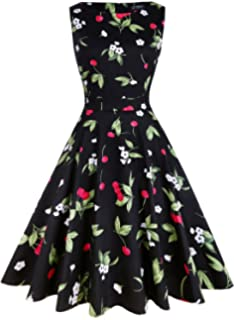 453ab202cf5251 oten Women s Vintage 1950 Swing Cocktail Party Sleeveless Floral Spring Tea  Dress