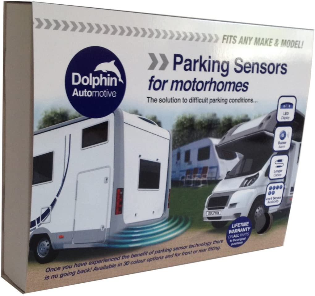 Silver,White Silver Dolphin MPS400 Motorhome Camper Van RV Reverse Parking Sensors WIth Audio Buzzer Black Grey