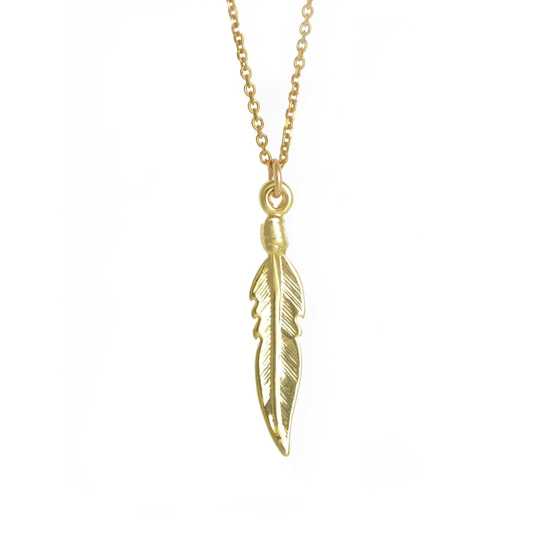 London Manori Dove Feather Pendant with 14k Gold Vermeil Chain
