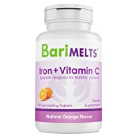 BariMelts Iron + Vitamin C, Dissolvable Bariatric Vitamins, Natural Orange Flavor...