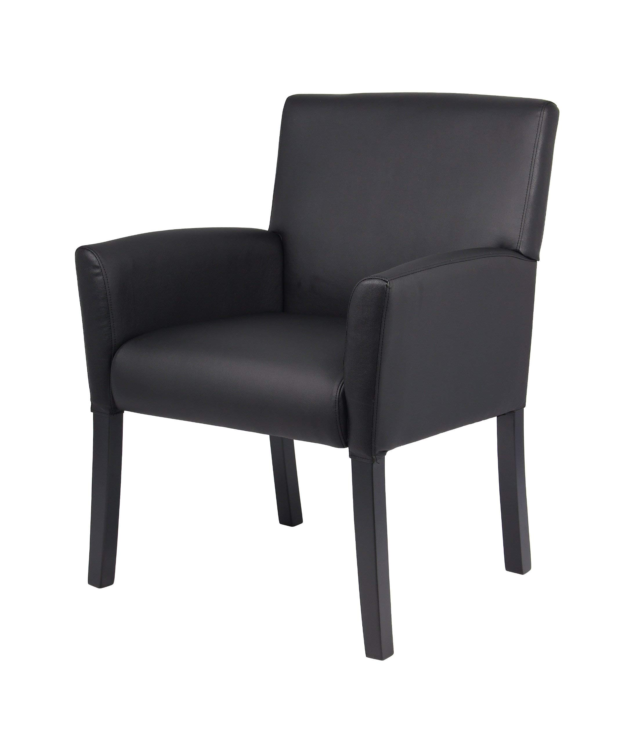 Boss Office Products B639-BK Executive Box Arm Chair with Mahogany Finish in Black by Boss Office Products (Image #5)