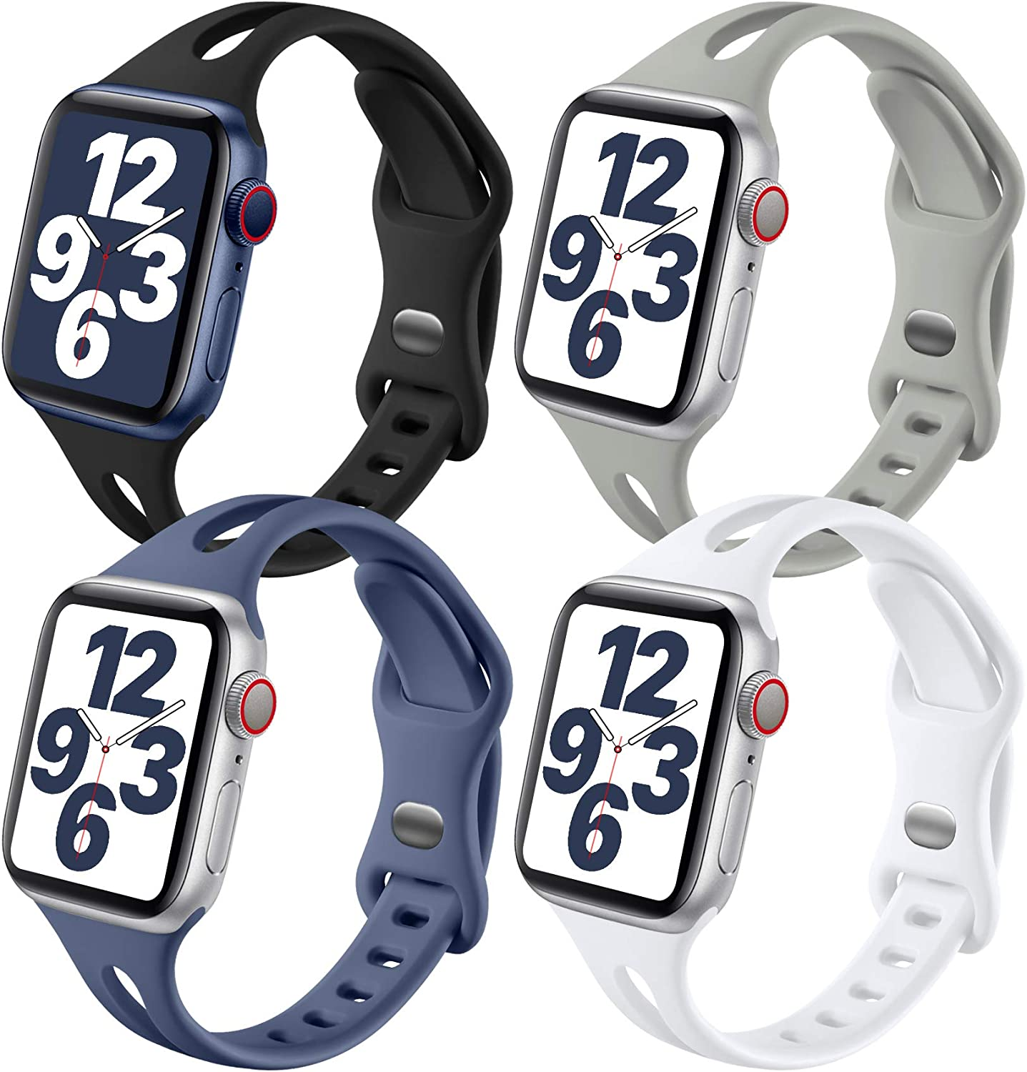 Getino Band Compatible with Apple Watch 40mm 38mm for Women Men, Soft Silicone Stylish Breathable Slim Sport Bands for iWatch SE & Series 6 5 4 3 2 1, 4 Pack, Black, White, Pebble Gray, Blue Gray