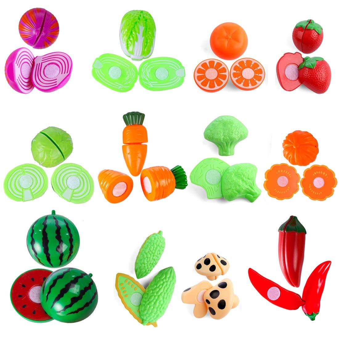 YVSoo 38 Piezas Juguetes de Frutas y Verduras Juego de Cocina Juegos de Aprendizaje y Coordinaci/ón Azul