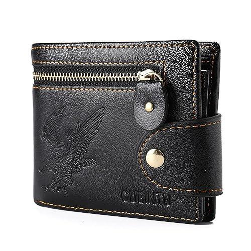 JINBAOLAI-MSKAY Doble pliegue Cuero real Hombre Cartera con el bolsillo grande de la moneda del cierre relámpago -gran regalo para los amigos: Amazon.es: ...