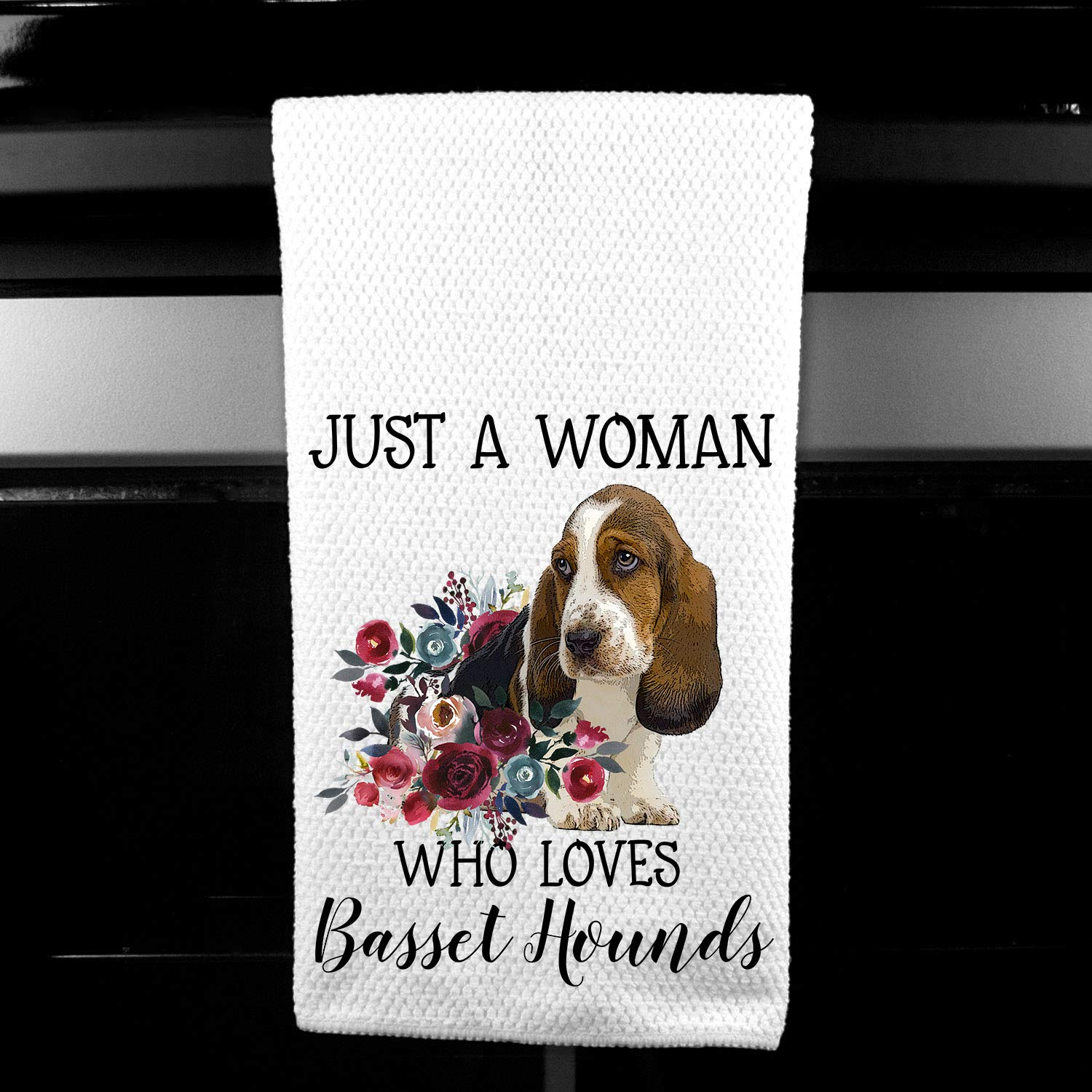 Just A Woman Who Loves Basset Hounds Microfiber Kitchen Tea Bar Towel Gift For Animal Dog Lover Cleaning Supplies Home Kitchen