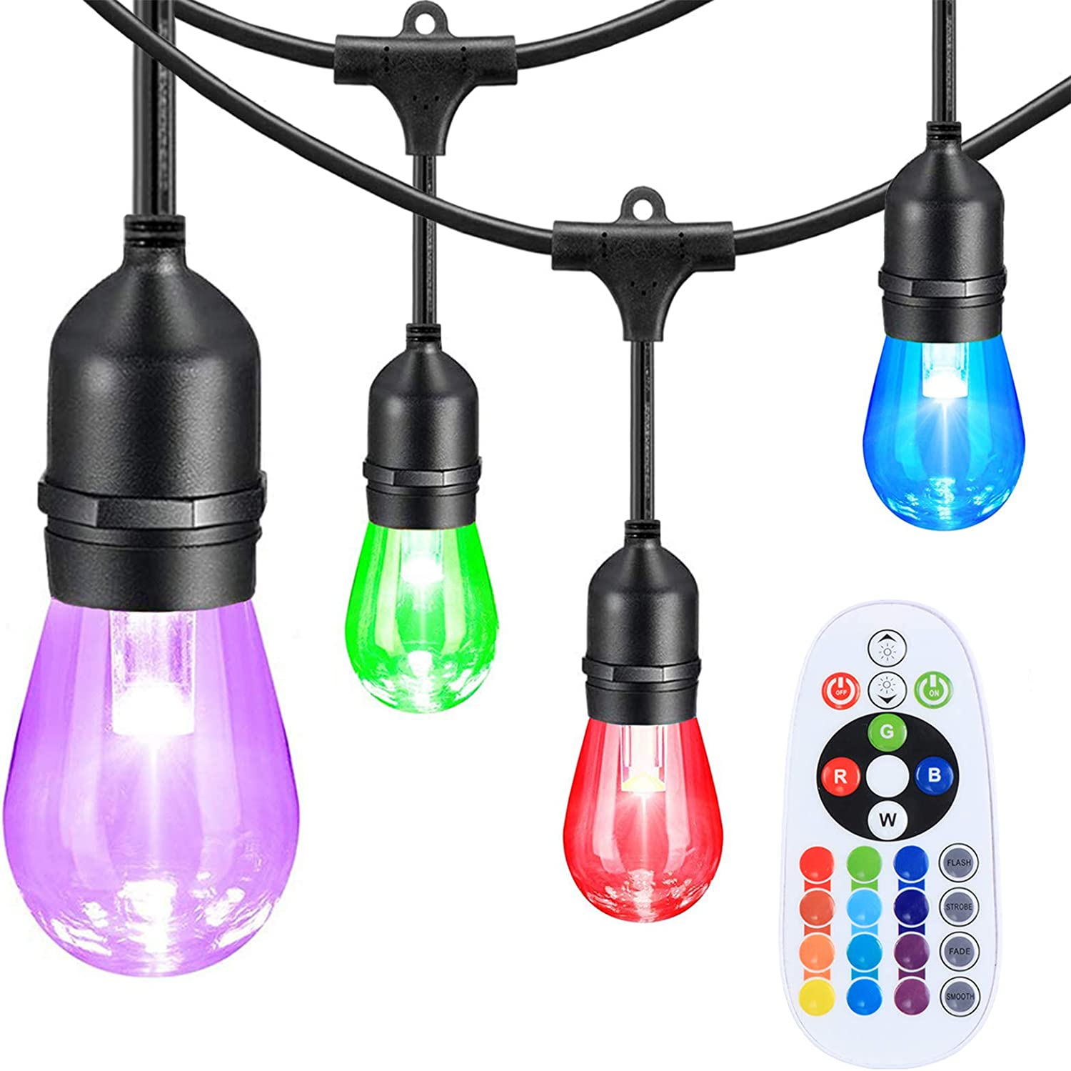 Afirst Color Changing Outdoor String Lights,Dimmable,12 RGB LED Bulbs,Commercial Grade Waterproof RGB String Lights for Patio Backyard Party Birthday Wedding Christmas,24 Feet