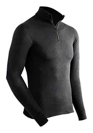 ColdPruf Mens Extreme Performance Dual Layer Long Sleeve Mock Zip Top, Black, Small