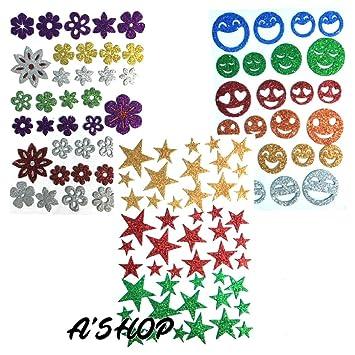 Pack of 50 pcs Glitter Foam Heart Shape Mixed Self Adhesive Sticker for Kids CQ
