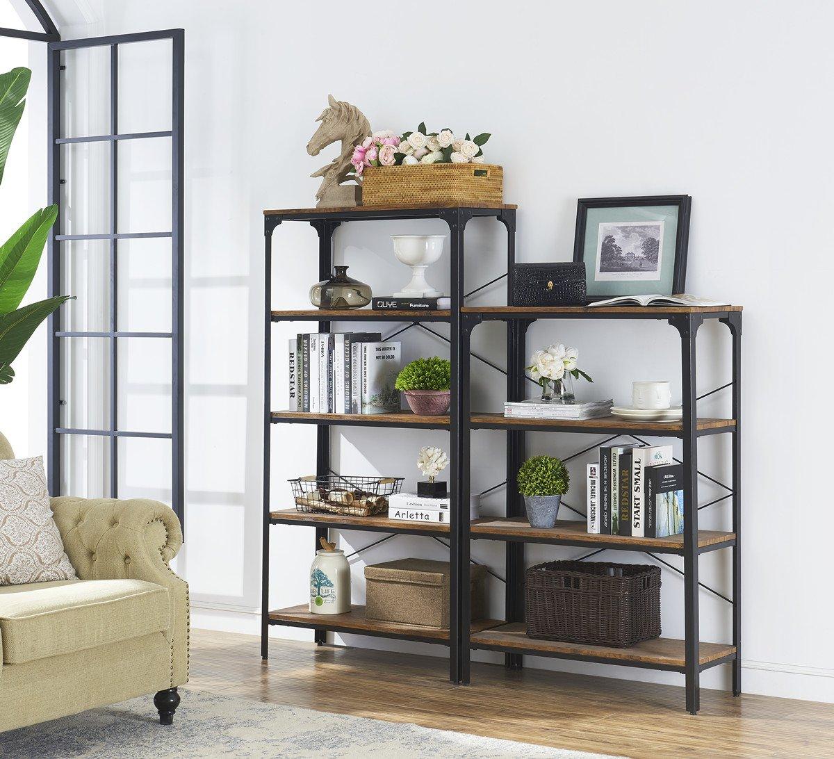 "O&K Furniture 4-Shelf Industrial Vintage Bookcase, Metal Bookshelf, 48""H x 33""W x 13""D, Barn-Wood Finish by O&K Furniture (Image #2)"