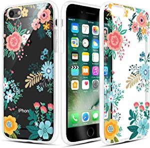 Caka iPhone 6 Case, iPhone 6s Clear Floral Case Flower Pattern Flower Series Slim Cute Girly Women Anti Scratch Excellent Grip Premium Clarity TPU Crystal Case for iPhone 6 6s 4.7 inch (Blue Yellow)