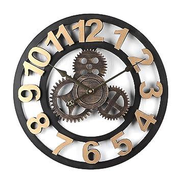 MRKE 40CM 3D Reloj Pared Vintage Grande XXL Silencioso Madera Retro Gear Design Reloje de Pared para Cocina/salón/Dormitorio/Baño/Oficina (Dorado números ...