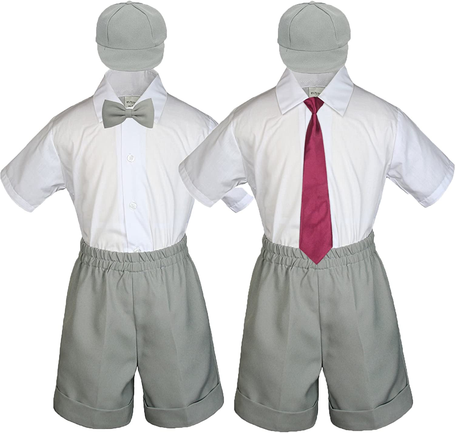 Baby Toddler Boy Kid Wedding Party Suit Gray Shorts Shirt Hat Necktie Set Sm-4T