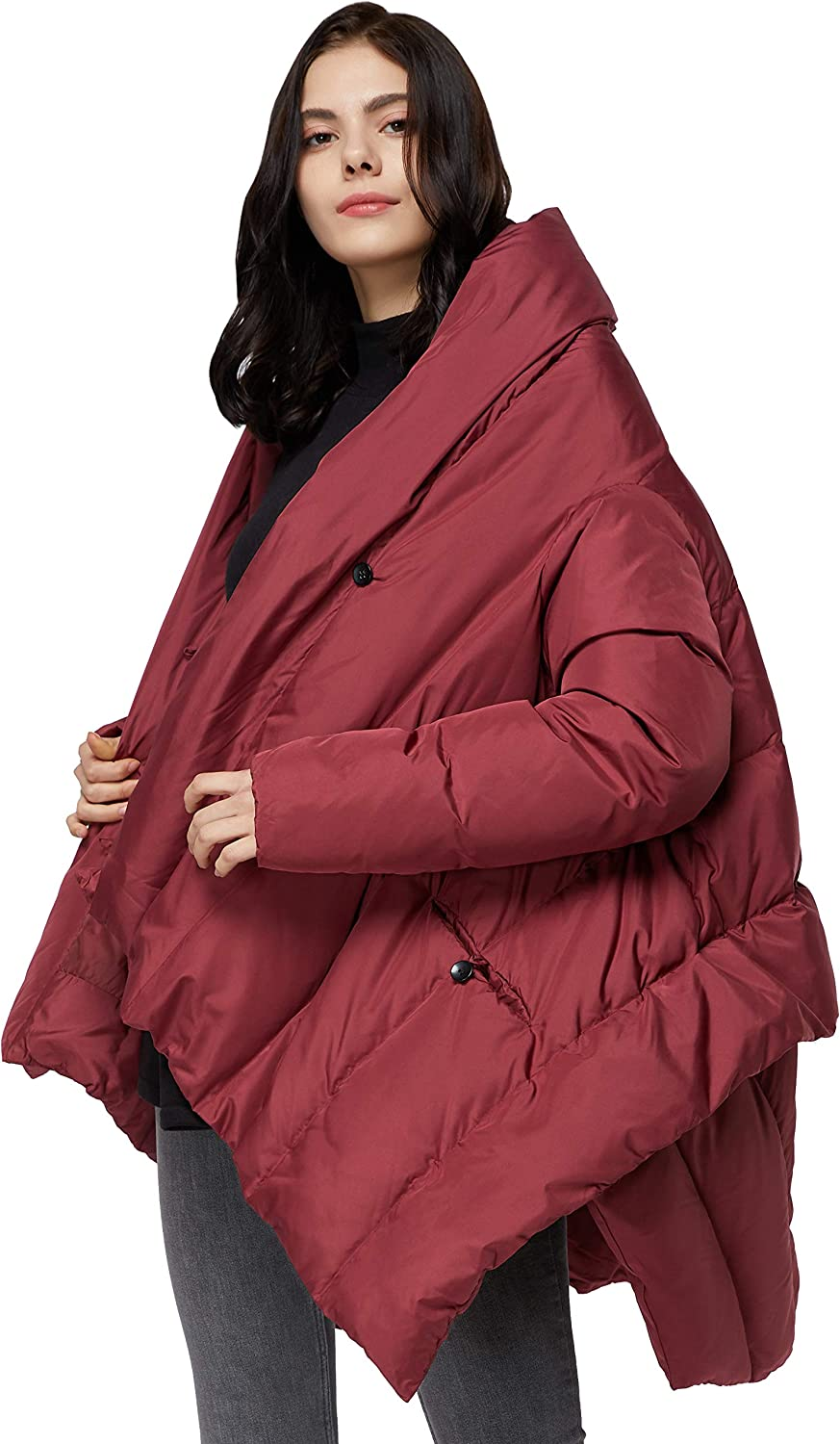 Orolay Women's Puffer Down Coat Cloak-Type Jacket Red