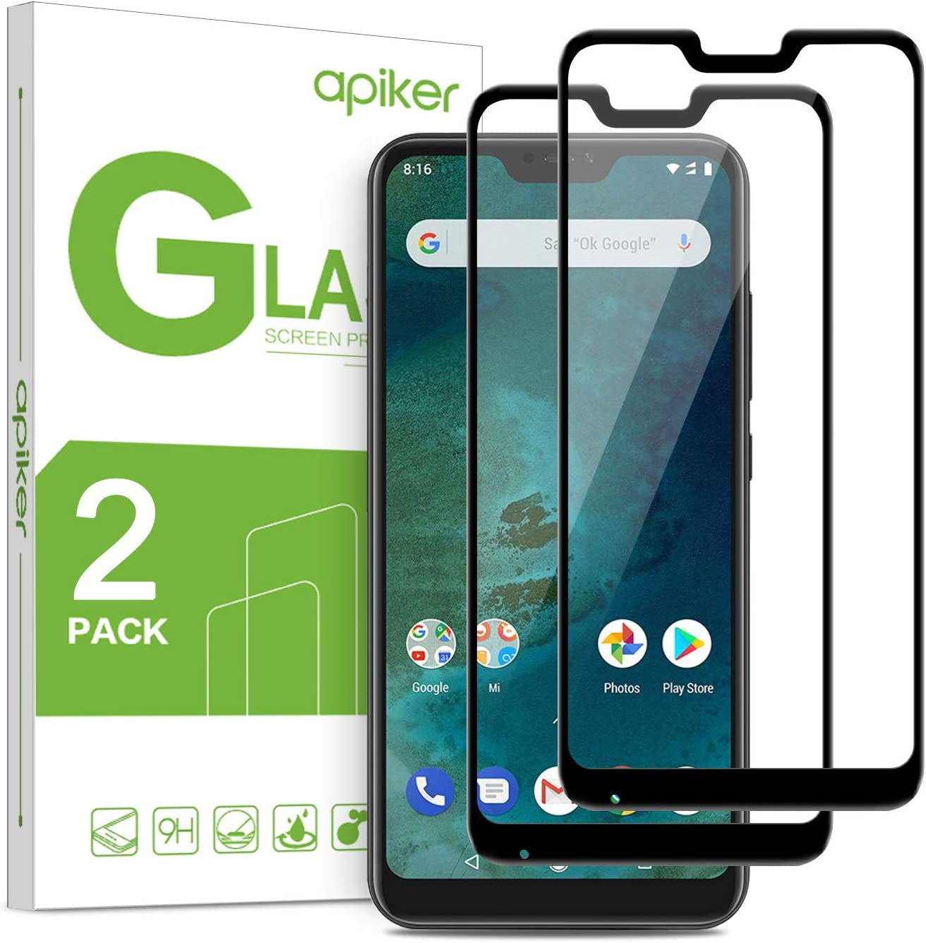 apiker [2-Unidades Cristal Templado Compatible con XiaoMI Mi A2 Lite (4.7 Pulgadas), Protector Pantalla para XiaoMI Mi A2 Lite, Vidrio Templado con [9H Dureza] [2.5d Borde] [Alta Definición]