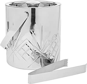 Godinger Wine Cooler Ice Bucket Beverage Chiller Barware with Tongs - Dublin Collection