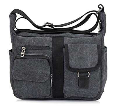Lightweight Messenger Travel Bag Vintage Heavy Duty Canvas Shoulder School  Bag Unisex (213 Black) 0092cef6d107c