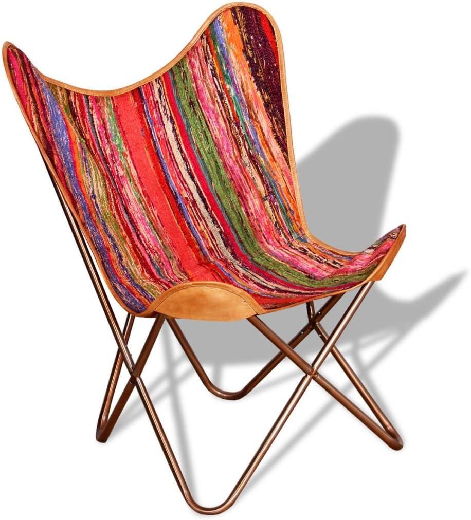 vidaXL Silla de Mariposa BKF Tela Chindi 74x66x90 cm Multicolor Sillón Butaca