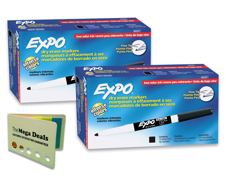Expo Low Odor, Fine Tip, Black, Dry, Erase Marker, 2 Packs of 12, Includes 5 Color Flag Set