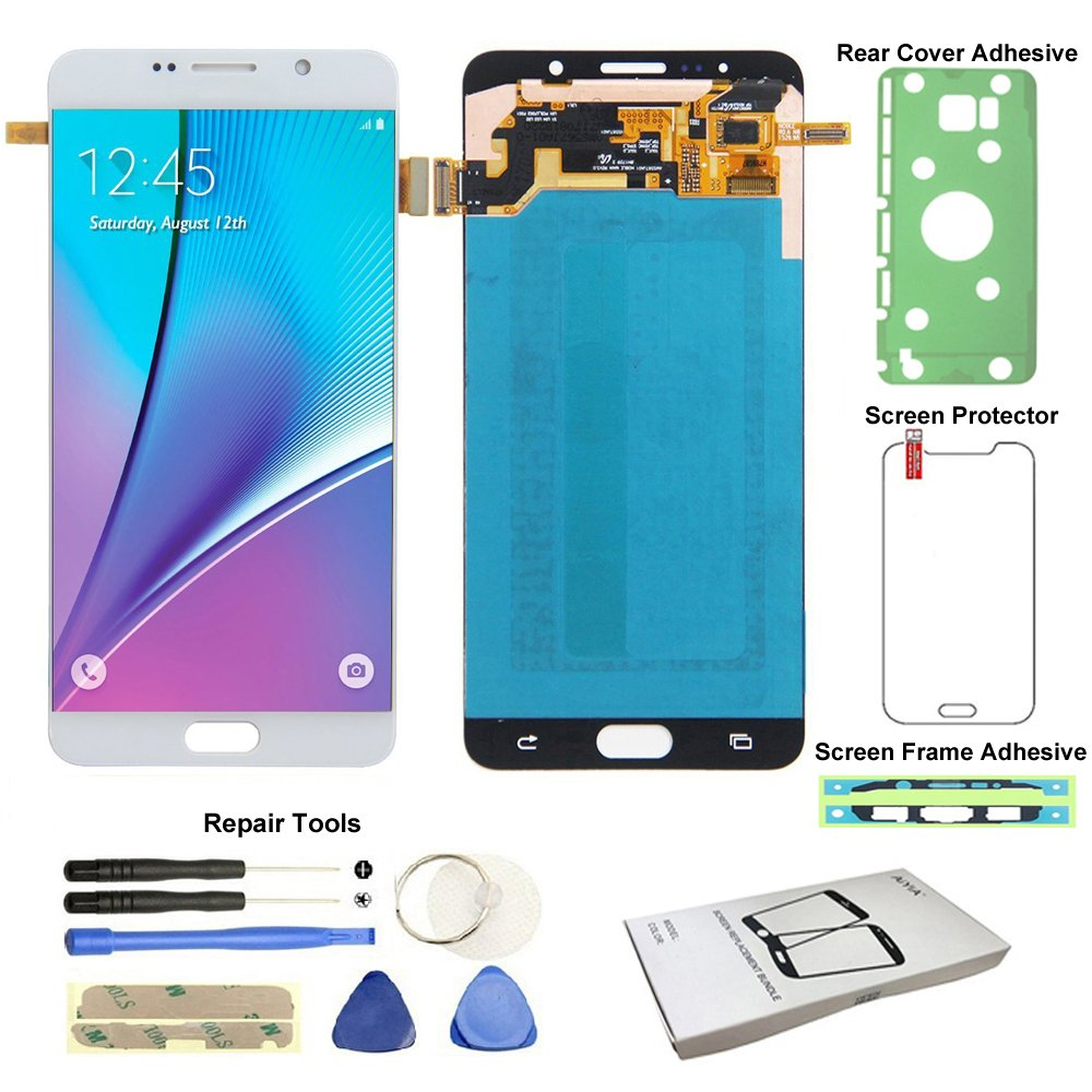 Display Touch Screen (AMOLED) Digitier Assembly with Stylus Pen Sensor for Samsung Galaxy Note 5 (V) N9200 N920A N920T N920V N920P N920R4 N920F N920W8 N920I (Phone Repair Replacement) (White Pearl)