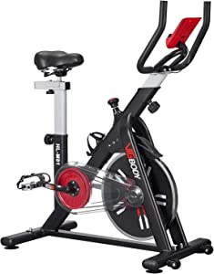 VIGBODY Exercise Stationary Bike Workout Spin Bike Cardio Cycling Indoor Home Gym Office,Upright Belt Drive With LCD Monitor&Comfortable Seat Cushion